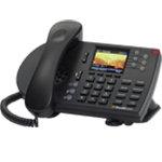 Black desktop VoIP phone isolated from background
